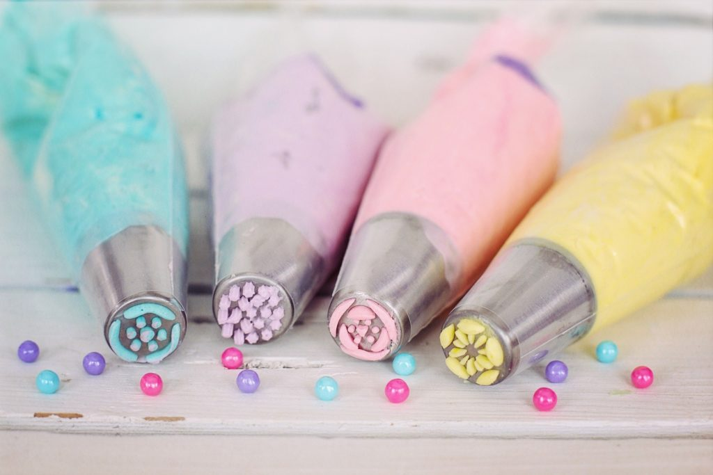 pastel coloured baking piping bags